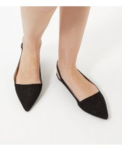 Black Embroidered Rose Pointed Sling Back Pumps  | New Look