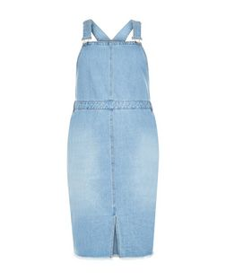 Curves Pale Blue Fray Hem Denim Pinafore Dress | New Look