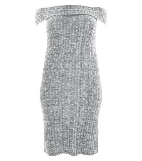 Curves Grey Bardot Neck Midi Dress | New Look