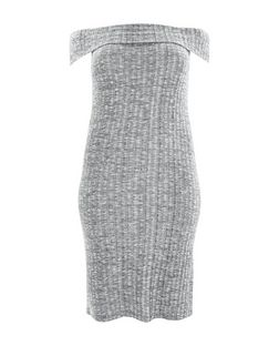 Plus Size Grey Bardot Neck Midi Dress | New Look