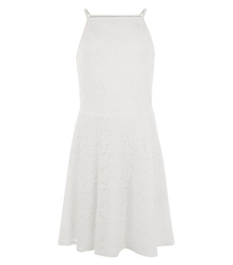 Teens Cream Lace Skater Dress | New Look