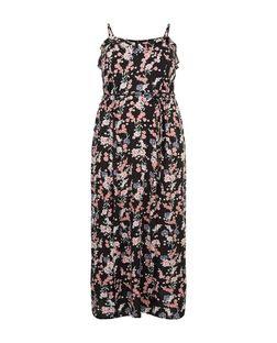 Curves Black Floral Print Frill Maxi Dress | New Look