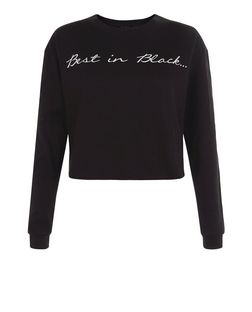Black Best In Slogan Cropped Sweater  | New Look