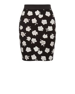 Teens Black Floral Contrast Waistband Skirt  | New Look