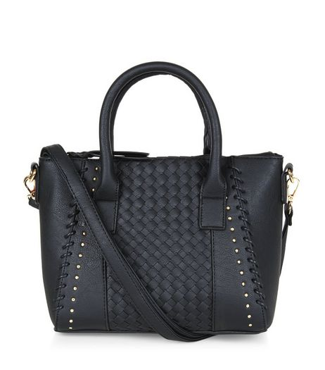 Black Woven Panel Mini Tote Bag | New Look