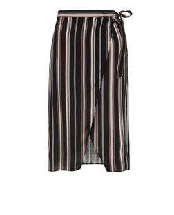 Black Stripe Wrap Front Midi Skirt  | New Look