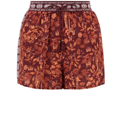 Purple Leaf Print Contrast Side Panel Shorts | New Look