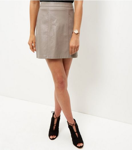 Mink Seam Trim Leather-Look Mini Skirt | New Look
