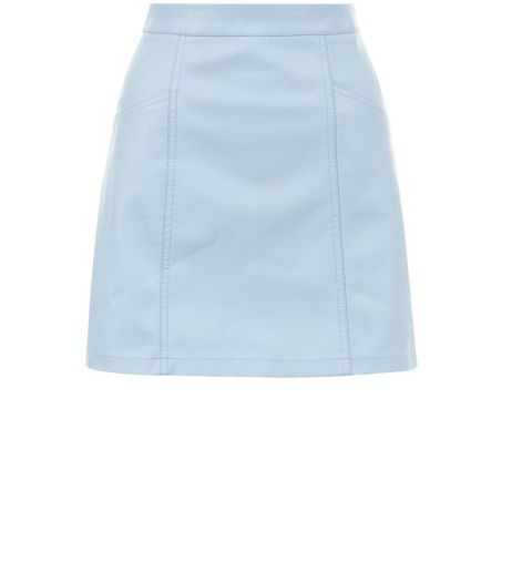 Pale Blue Leather-Look Seam Trim Mini Skirt  | New Look