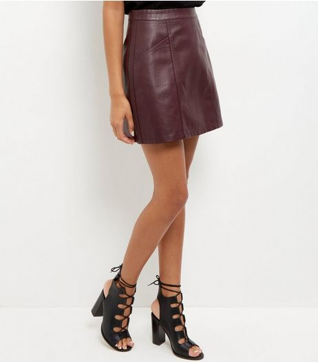 Burgundy Leather-Look Mini Skirt | New Look