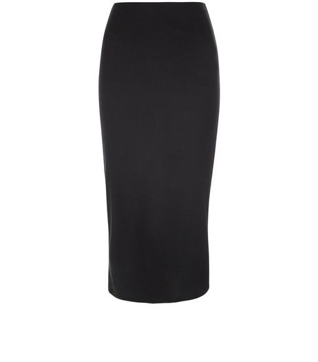 Black Ribbed Longer Length Midi Pencil Skirt  | New Look