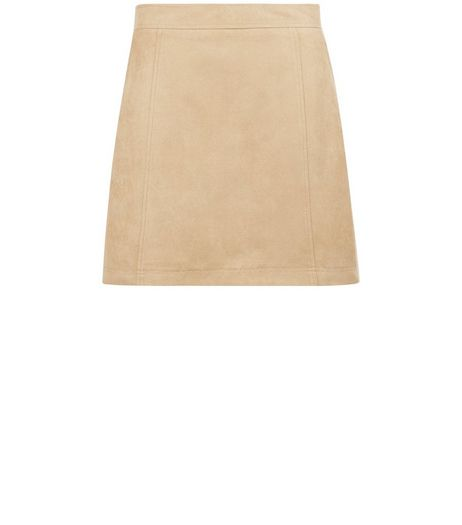 Camel Suedette A-Line Skirt | New Look