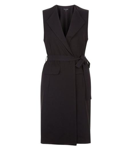 Black Crepe Tie Waist Sleeveless Blazer  | New Look