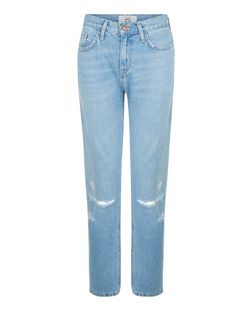Pale Blue Ripped Knee Straight Leg Jeans  | New Look
