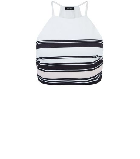 White Stripe High Neck Crop Top | New Look