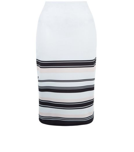 White Stripe Border Pencil Skirt  | New Look