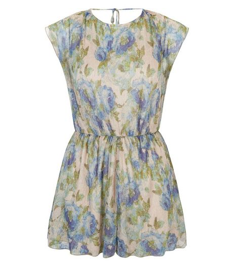 Blue Metallic Floral Print Pleated Playsuit  | New Look