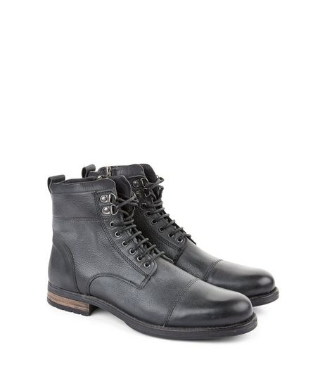 Black Leather Lace Up Military Boots  | New Look
