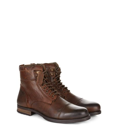 Brown Leather Lace Up Military Boots | New Look