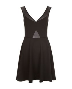 Black Mesh Panel Skater Dress  | New Look