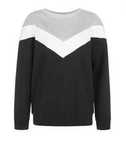 Black Chevron Colour Block Sweater  | New Look