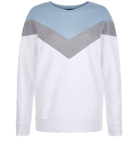 Cream Chevron Colour Block Sweater | New Look