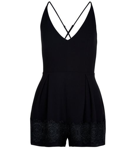 Black Crochet Trim V Neck Playsuit | New Look