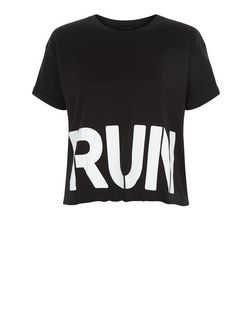 Black Run Stencil Sports Crop Top | New Look