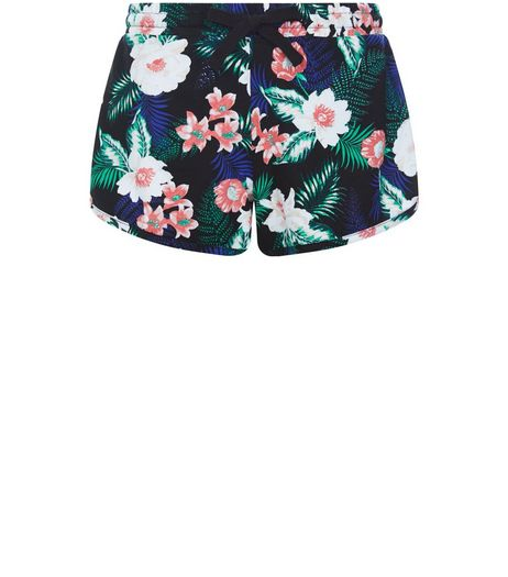 Black Floral Tropical Print Shorts  | New Look