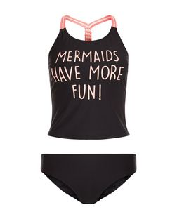 Teens Black Mermaid Print Strappy Tankini Set | New Look