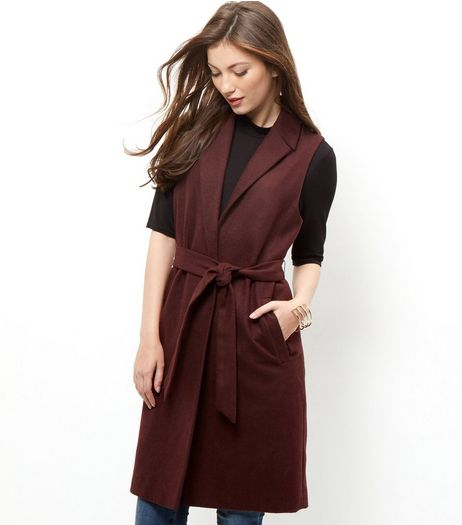Burgundy Belted Sleeveless Blazer  | New Look
