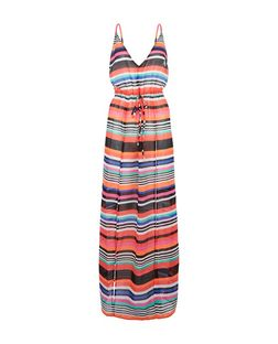 Multicoloured Sheer Stripe V Neck Maxi Dress | New Look