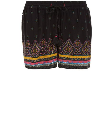 Petite Black Embroidered Shorts | New Look