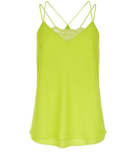 Petite Lime Lace Panel Cami  | New Look