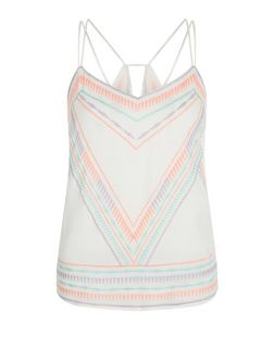 Petite White Neon Embellished Cami | New Look