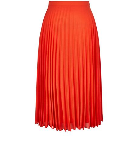 Petite Orange Pleated Midi Skirt | New Look