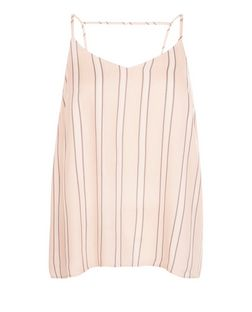 Petite Pink Stripe Bar Back Cami  | New Look