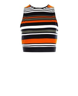 Petite Multicoloured Stripe Crop Top  | New Look
