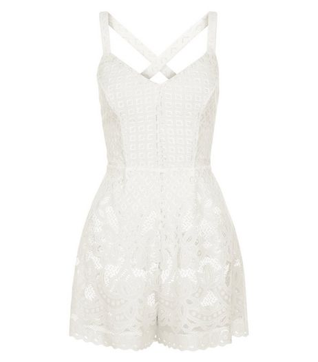 White Lace Overlay Playsuit  | New Look