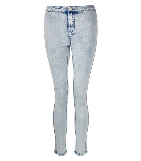 Teens Pale Blue Acid Wash High Waist Super Skinny Jeans  | New Look