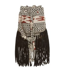 Brown Aztec Print Fringed Duffle Bag | New Look