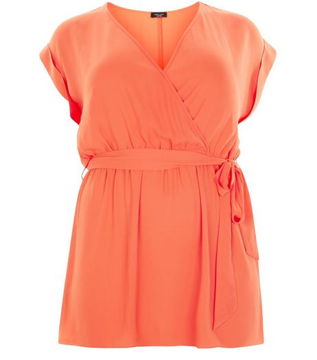 Curves Orange Belted Wrap Tunic | New Look