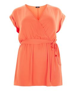 Plus Size Orange Belted Wrap Tunic | New Look