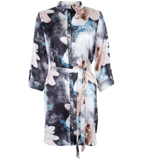 Parisian Blue Floral Print Satin Shirt Dress | New Look