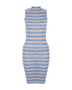 Teens Blue Stripe Ribbed Turtle Neck Dress | New Look