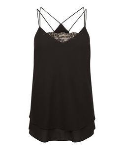 Black Lace Panel Layered Cami | New Look