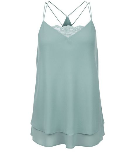 Mint Green Lace Panel Layered Cami | New Look