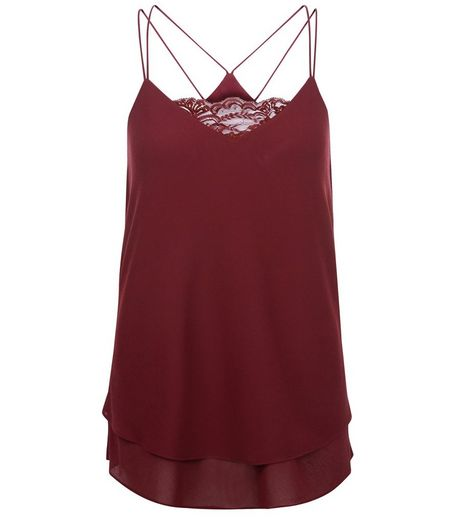 Burgundy Lace Panel Layered Cami | New Look
