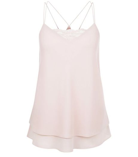Mid Pink Lace Panel Layered Cami | New Look