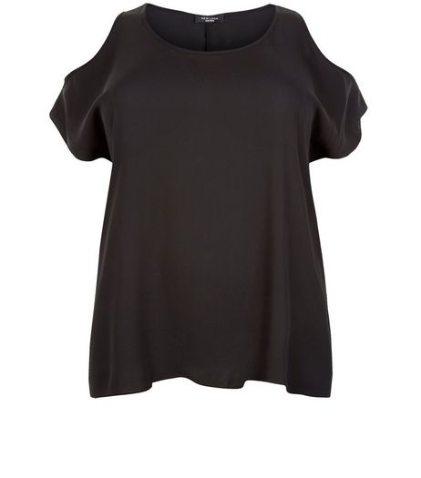 Curves Black Cold Shoulder Top | New Look